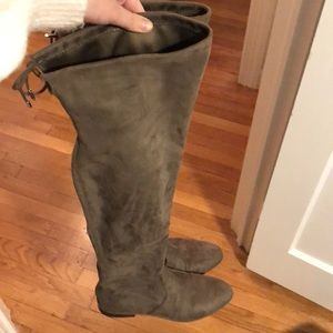 Marc Fisher size 10, Grey Over the knee flat boots